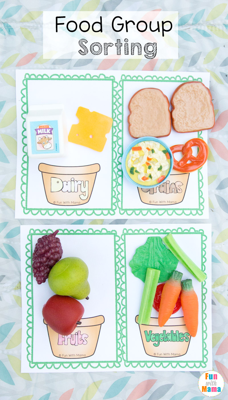 food group sorting worksheet for kids