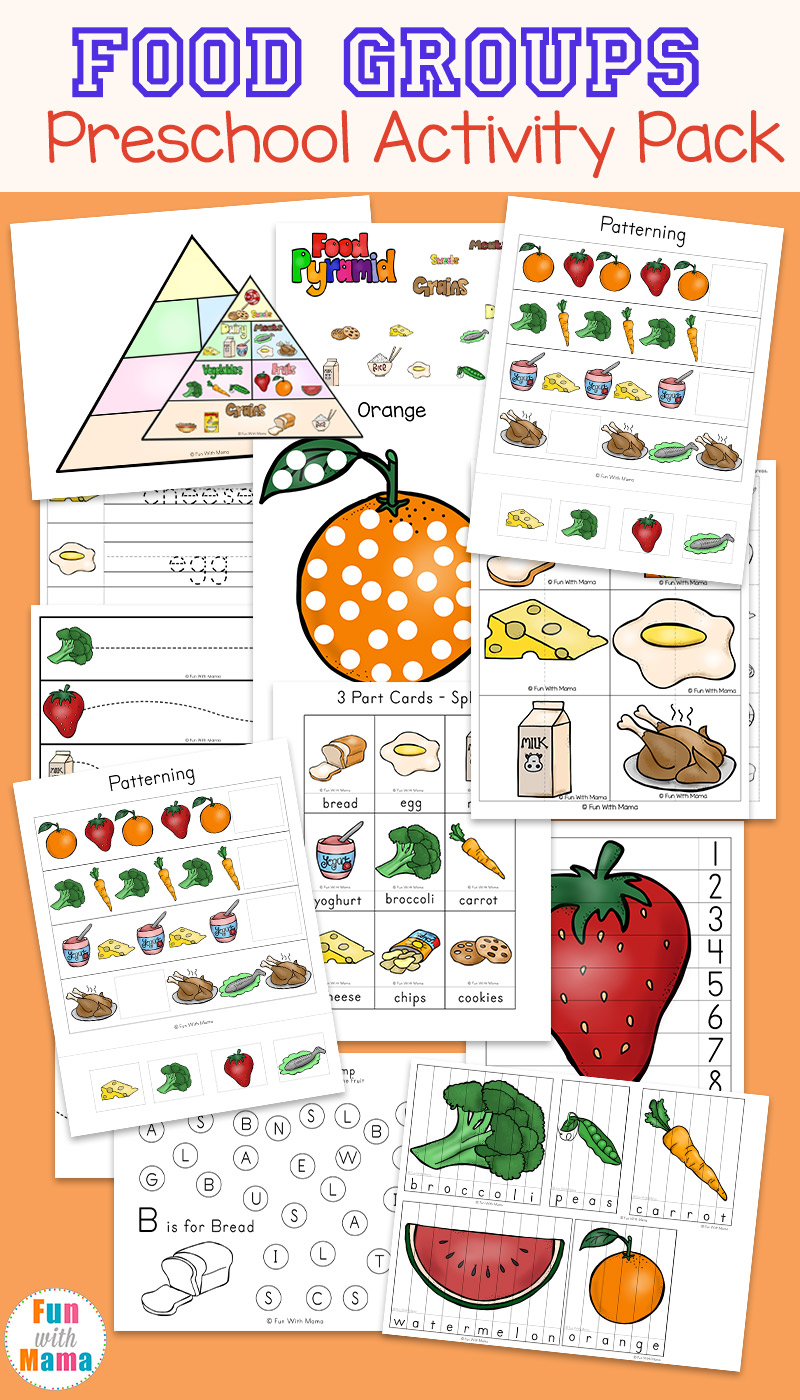 Food Worksheets For Preschoolers : Food groups preschool activity pack fun with mama