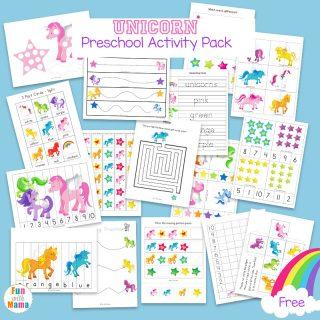 Unicorn Preschool Activity Pack