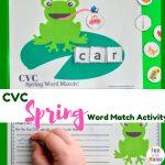Free Printable CVC Spring Word Matching Activity