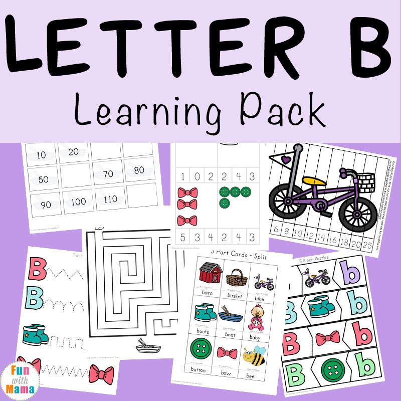 letter b activities preschool printable pack