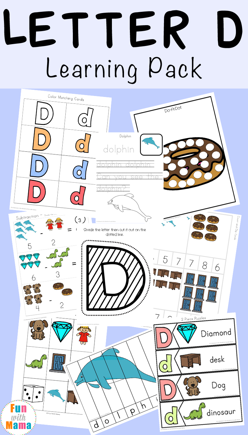 letter d worksheets activities fun with mama. Black Bedroom Furniture Sets. Home Design Ideas