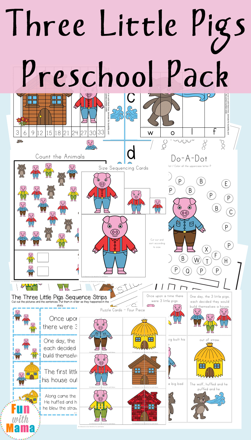 three little pigs printable pack fun with mama