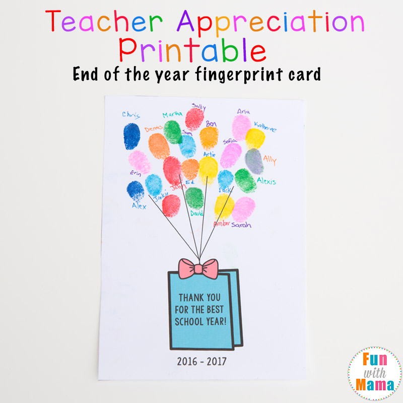 photograph relating to Printable Fingerprint Card named Printable Close of the 12 months Instructor Appreciation Reward