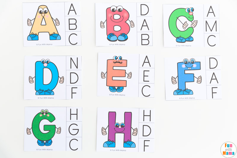 graphic relating to Alphabet Matching Game Printable referred to as Alphabet Letter Matching Clip Playing cards - Enjoyment with Mama