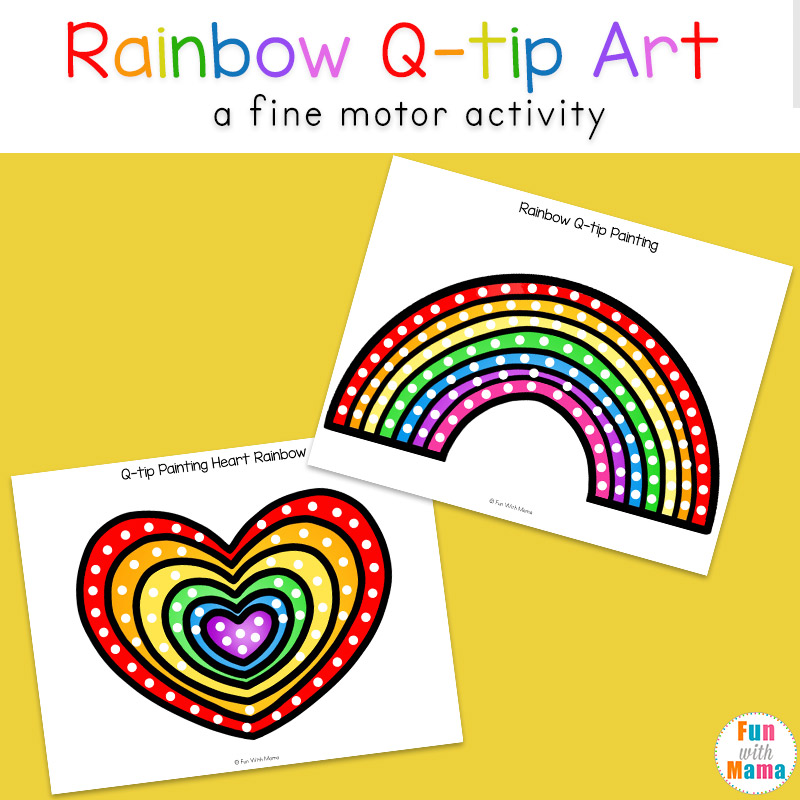 image about Q Tip Painting Printable named Rainbow Q Idea Artwork Printable - Enjoyment with Mama