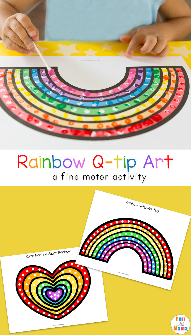 photo about Q Tip Painting Printable referred to as Rainbow Q Idea Artwork Printable - Exciting with Mama