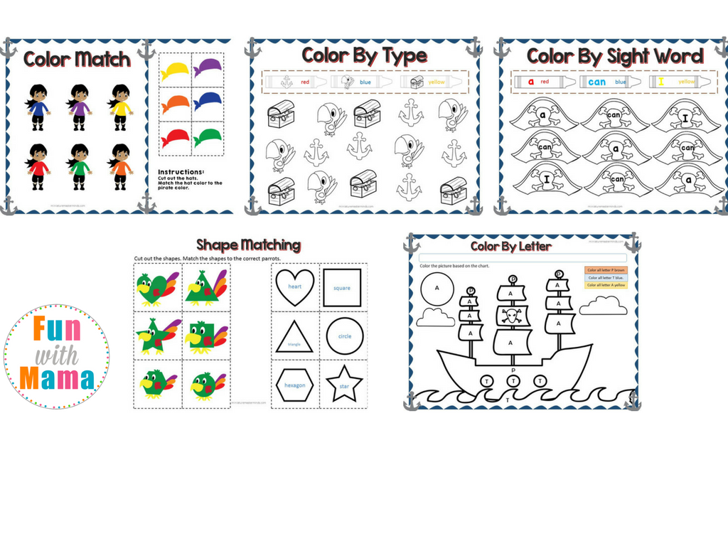 Pirate Theme Preschool Educational Pack on I Like To Add A Counting An The Worksheets