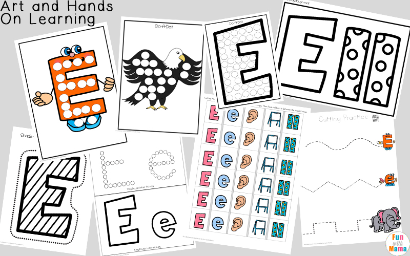 Free printable letter e activities, worksheets, crafts and learning pack.