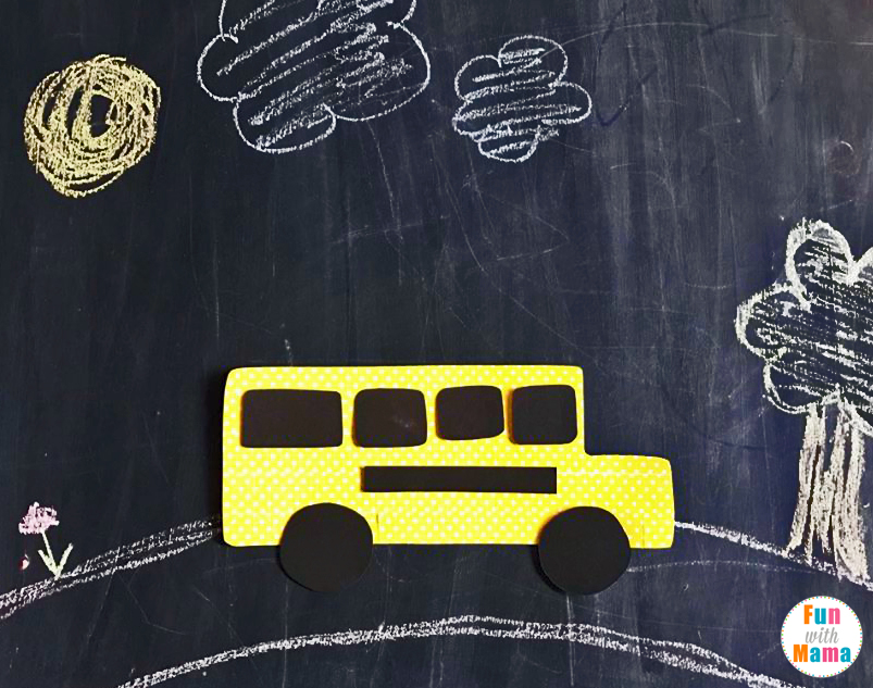 Washi Tape School Bus Craft For Kids. Perfect for back to school or to tie with the children's book: The Wheels On The Bus.