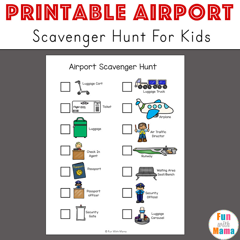 Airport Scavenger Hunt For Kids Fun With Mama