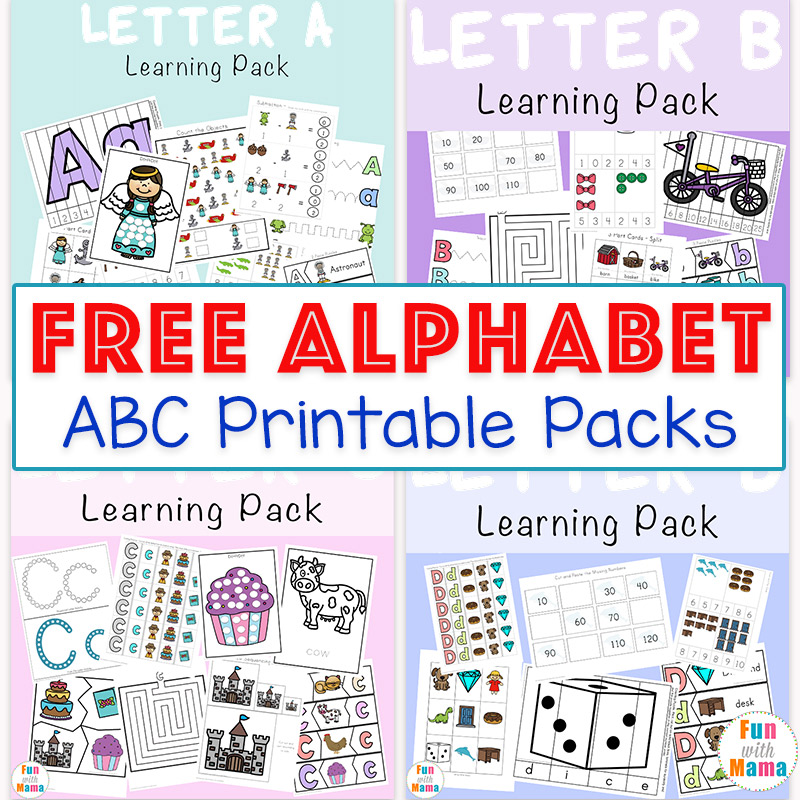photo relating to Printable Abc called Free of charge Alphabet ABC Printable Packs - Enjoyment with Mama