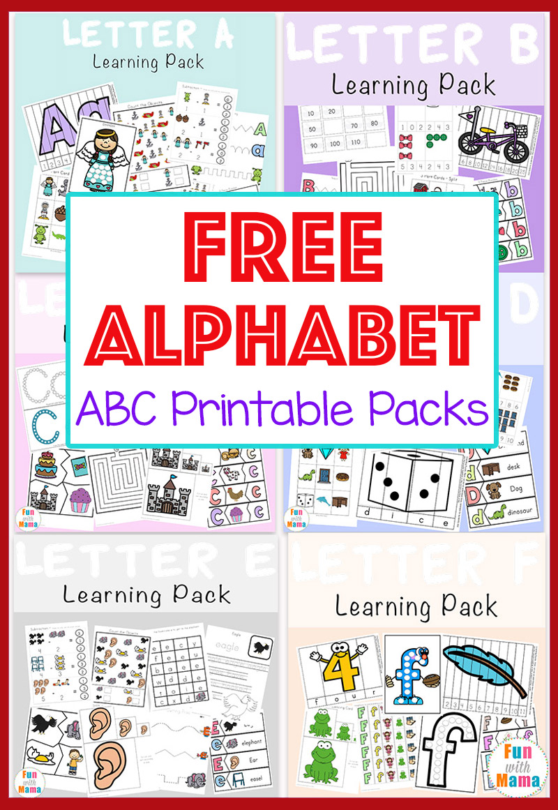 picture regarding Printable Abc Letters named Free of charge Alphabet ABC Printable Packs - Entertaining with Mama