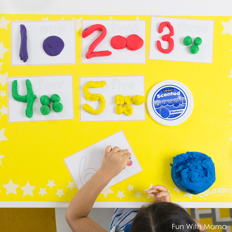 number play dough mats