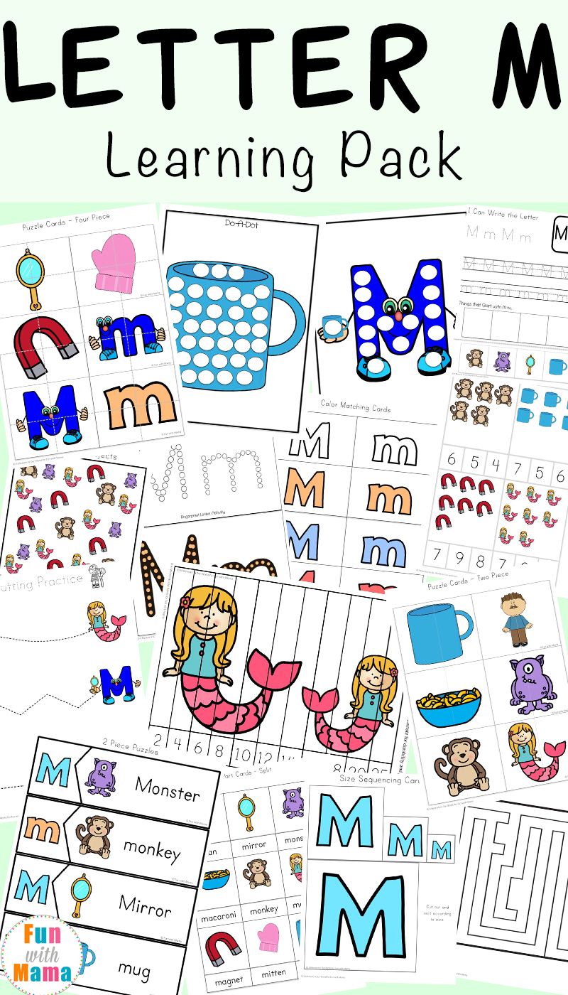 image relating to Letter M Printable named Letter M Worksheets - Enjoyment with Mama