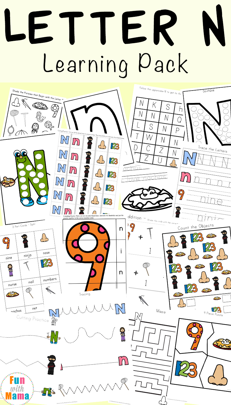 photograph regarding Letter N Printable identified as Letter N Worksheets - Exciting with Mama