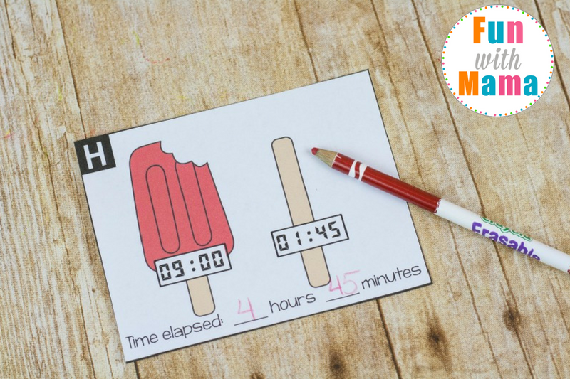These fun elapsed time cards will help your kids practice telling time and figuring out how much time has passed.  Each ice cream cone and popsicle stick is melting!  How much time did it take?