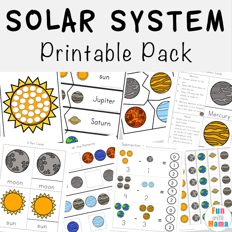 Solar System Printable Pack on Create Preschool Worksheets