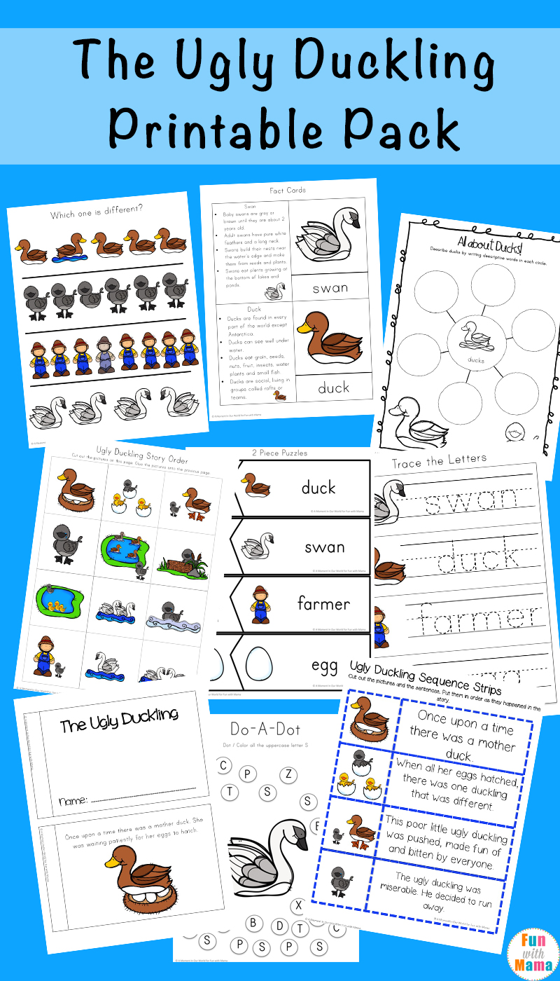 This free Ugly Duckling Printable Pack is filled with fun worksheets, clip cards and activities that are suitable for young children in preschool and kindergarten.