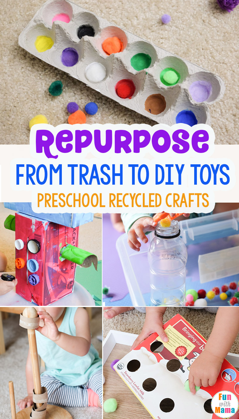 From Trash To Toys Preschool Recycled Crafts Fun With Mama