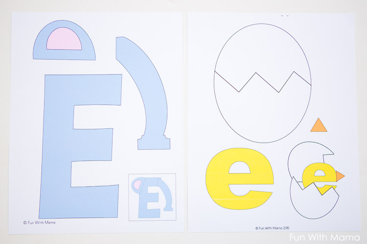 Free letter e printable pack fun with mama for E crafts for preschoolers