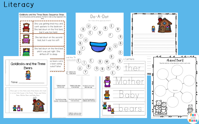 Goldilocks and the three bears printable story with pictures
