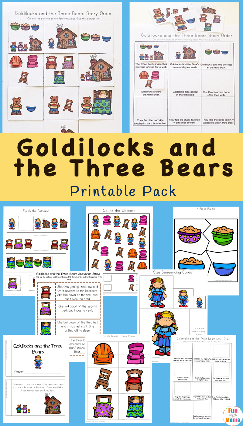graphic regarding Printable Sequencing Cards named Goldilocks And The A few Bears Printable Pack - Entertaining with Mama
