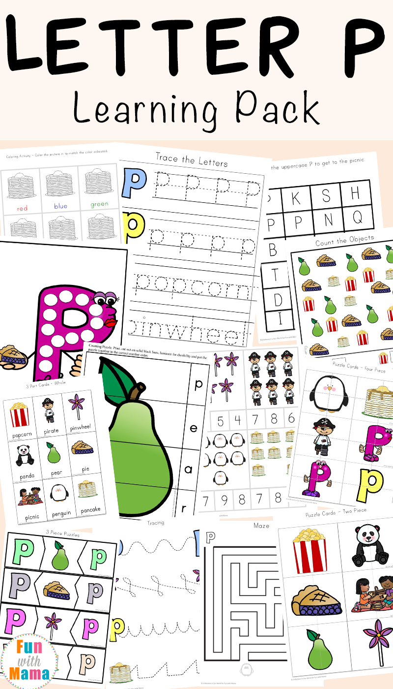 image about Printable Letter P identified as Letter P Worksheets + Printables - Enjoyment with Mama