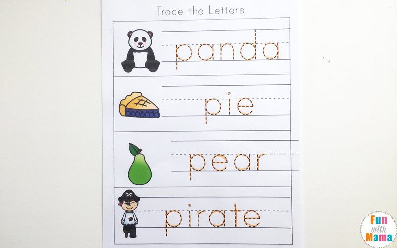 letter p tracing