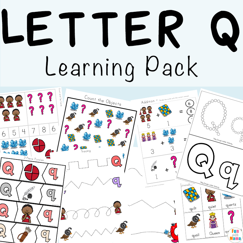 graphic about Letter Q Printable called Letter Q Preschool Printable Pack - Pleasurable with Mama