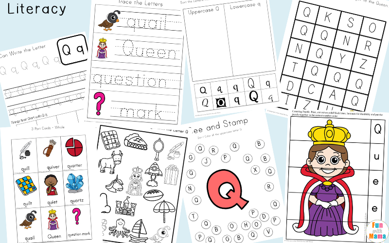 graphic about Letter Q Printable titled Letter Q Preschool Printable Pack - Exciting with Mama