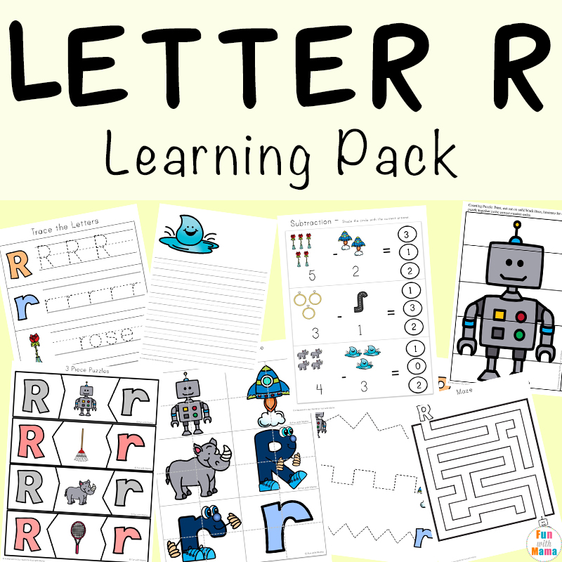 Letter R Learning Pack includes prewriting, letter recognition, simple math concepts, handwriting, and more fun and games for kids