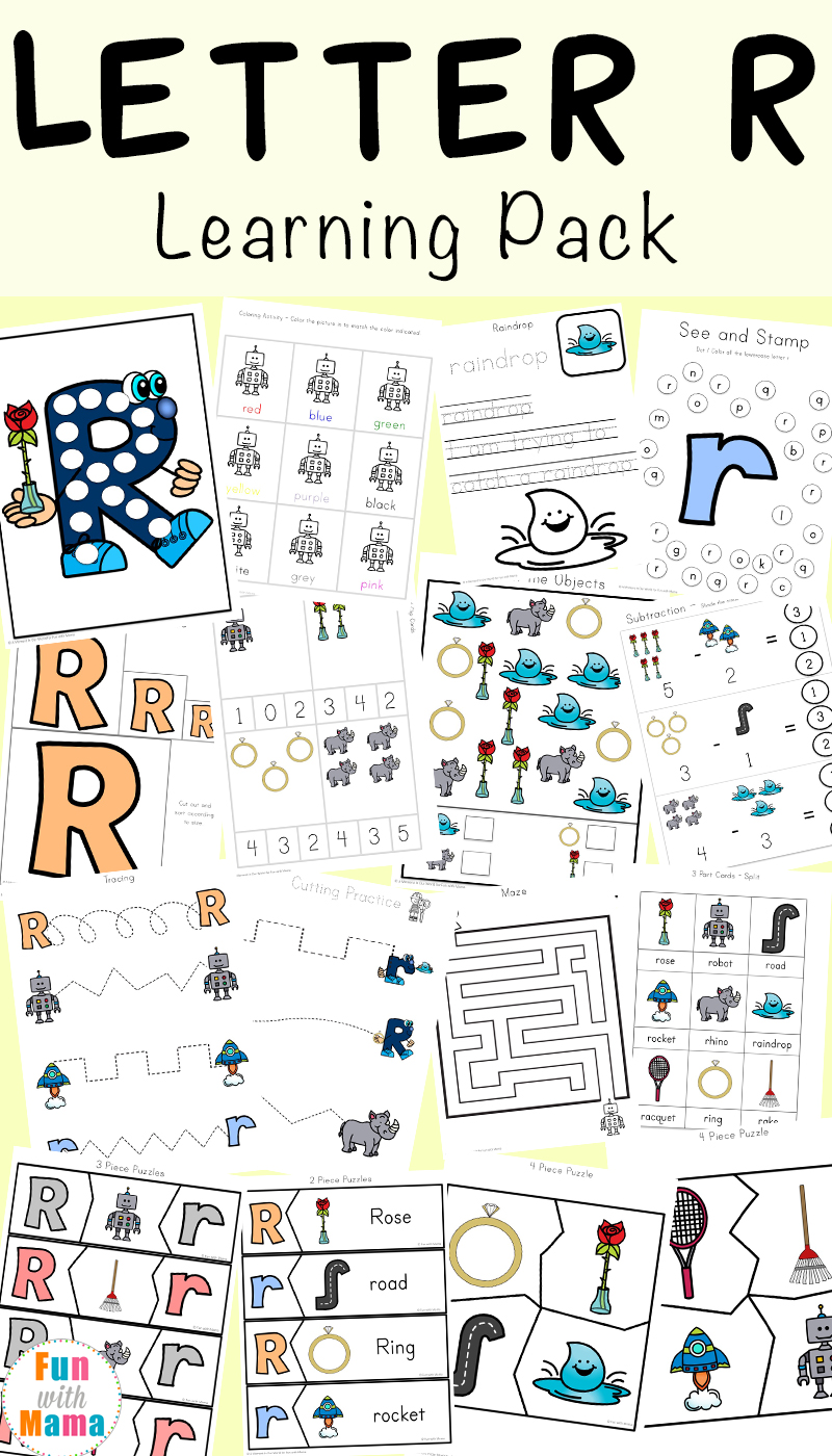 letter r worksheets and printable preschool activities pack fun with mama. Black Bedroom Furniture Sets. Home Design Ideas