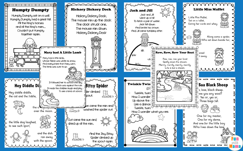 graphic about Printable Nursery Rhymes named Nursery Rhymes Printables Posters - Enjoyable with Mama