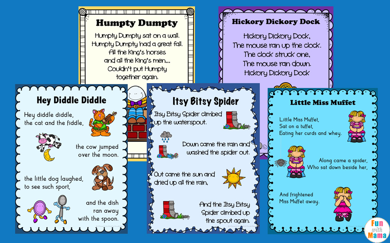 image regarding Free Printable Nursery Rhymes named Nursery Rhymes Printables Posters - Pleasurable with Mama