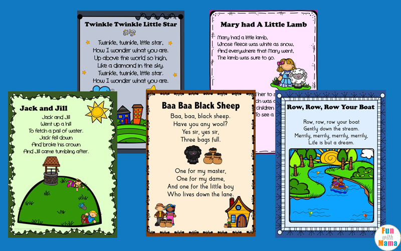 Nursery Rhymes Printables Posters Fun With Mama