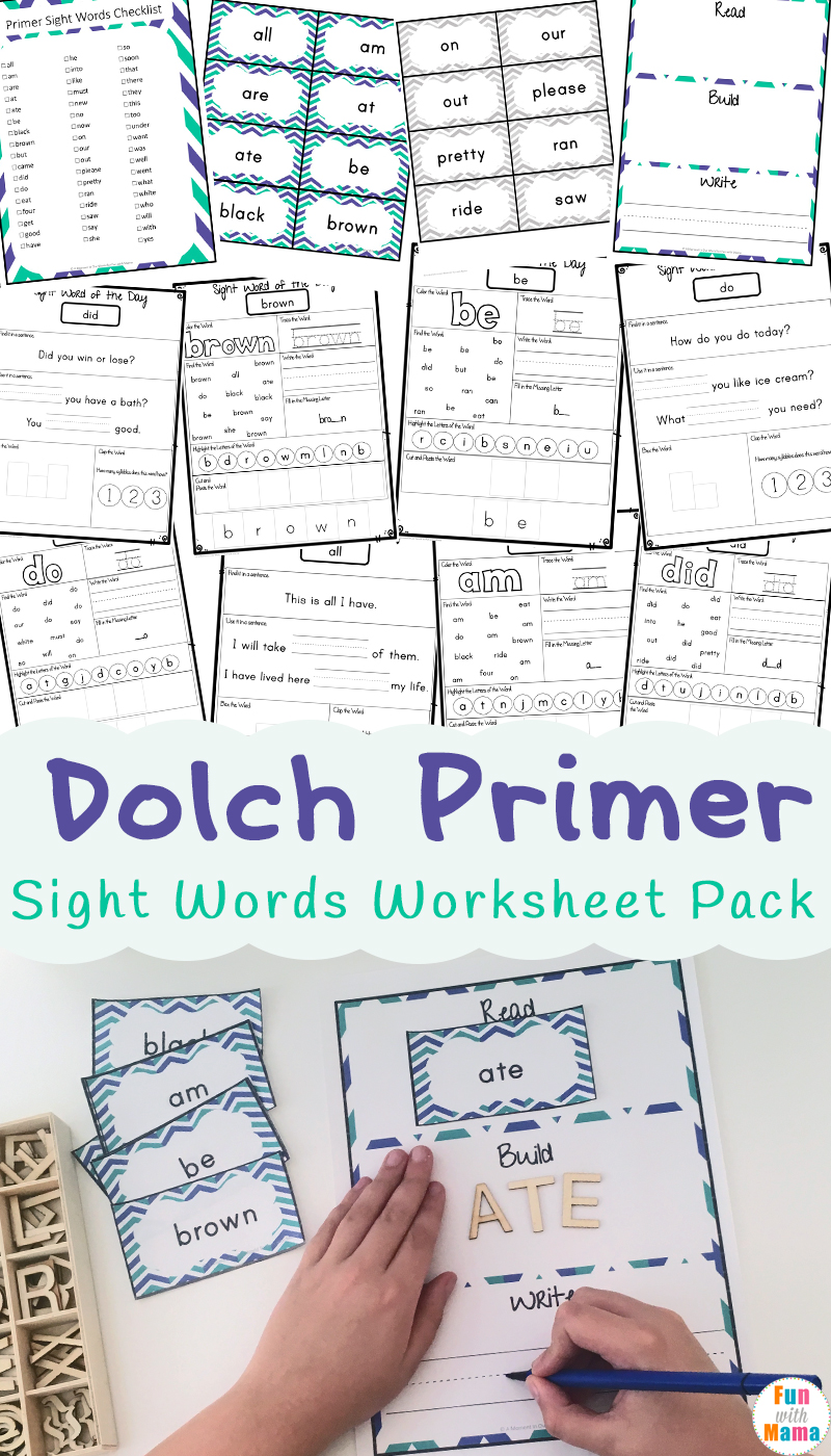 Dolch Primer Sight Words Worksheets - Fun with Mama