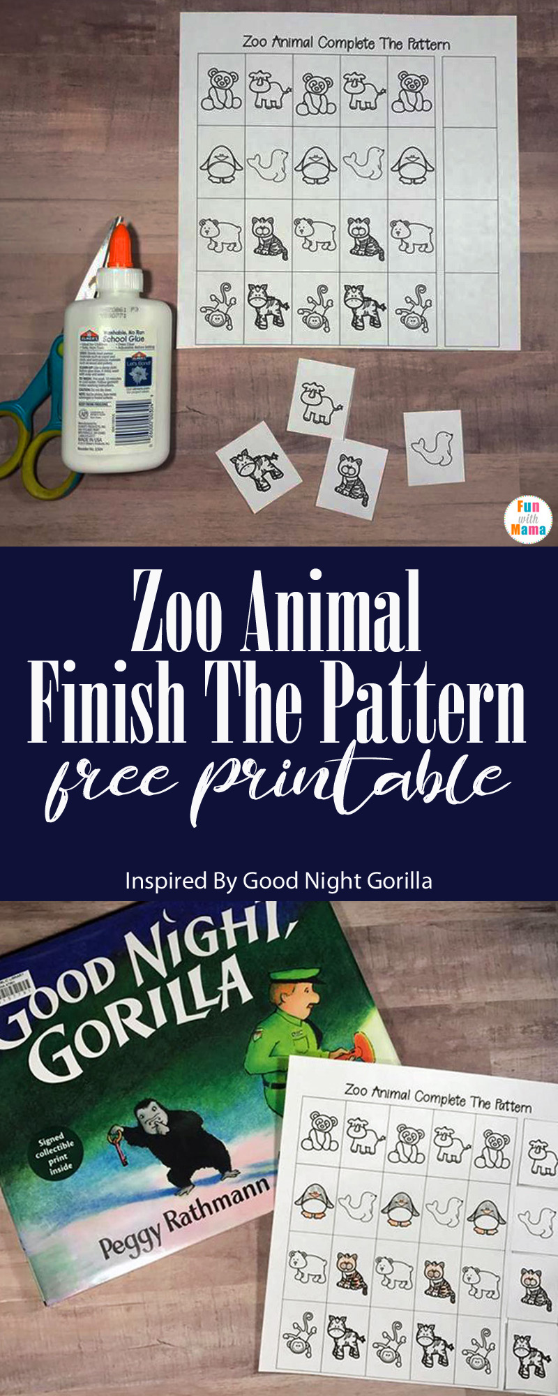 Zoo Animal Finish The Pattern Free Printable Inspired By Good Night Gorilla