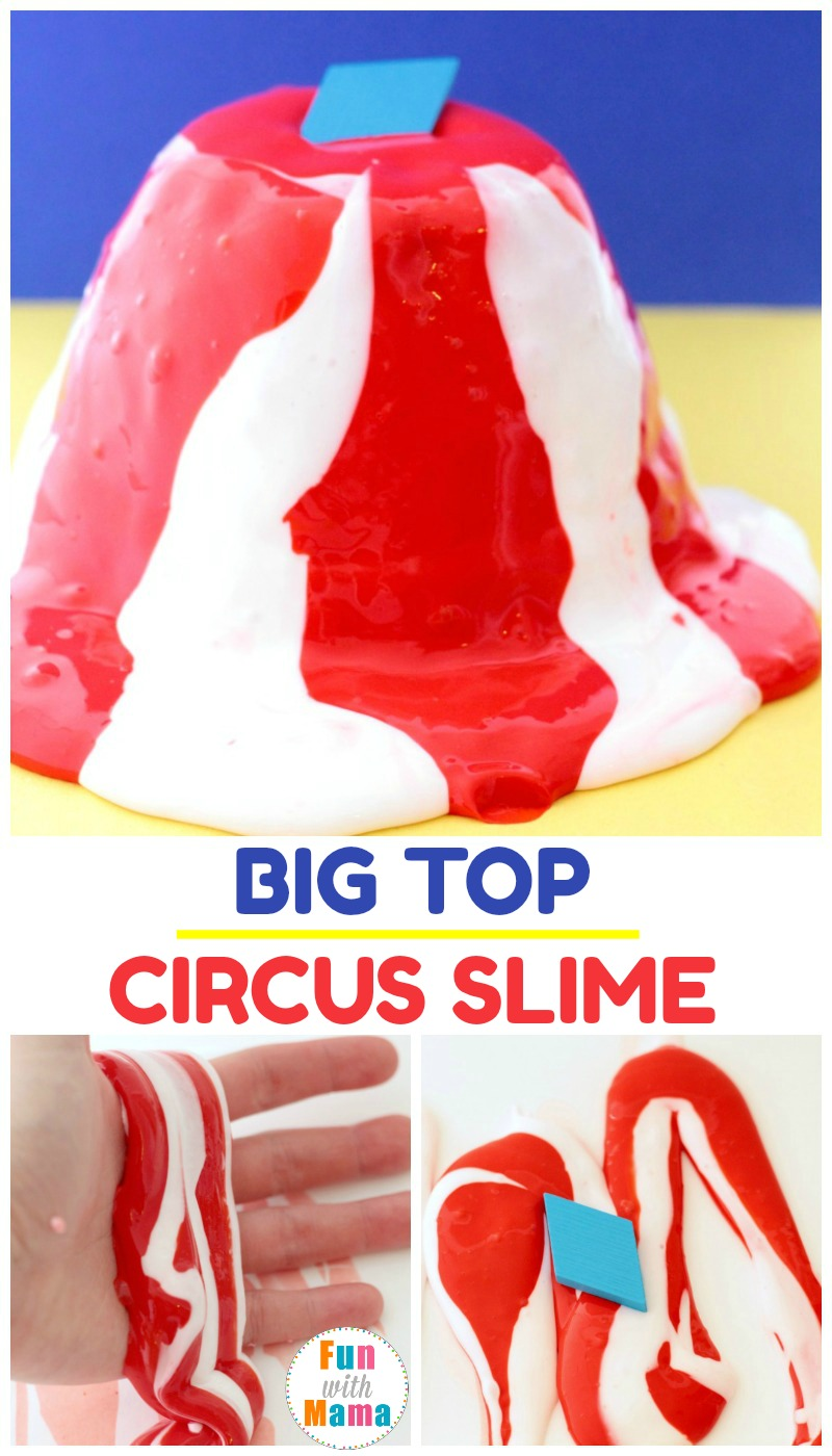 If your kids love slime, they will love this fun circus slime that looks just like the classic big top! Mix sensory with play in this fun activity!