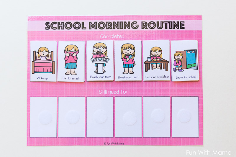 kids printable school morning routine cards   fun with mama