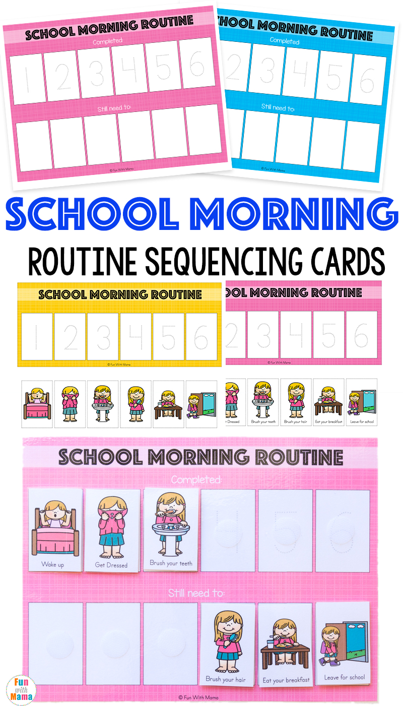 photograph regarding Children's Routine Charts Free Printable identified as Small children Timetable Early morning Plan For Faculty - Entertaining with Mama