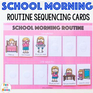 Kids Printable School Morning Routine Cards