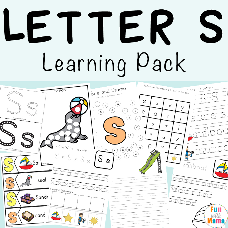 Huge Letter S Printable Pack. Concepts Included: Simple Math, Literacy, Handwriting and Pre-Writing, Letter Recognition, etc. Multiple hands on learning games and activities for Kindergarten or Preschoolers To Learn Letter S.