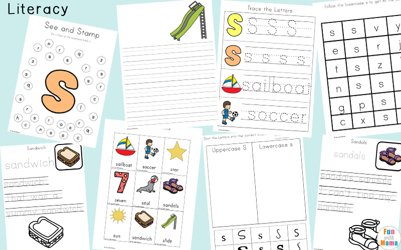 Letter S inspired literacy concepts printables for kids.