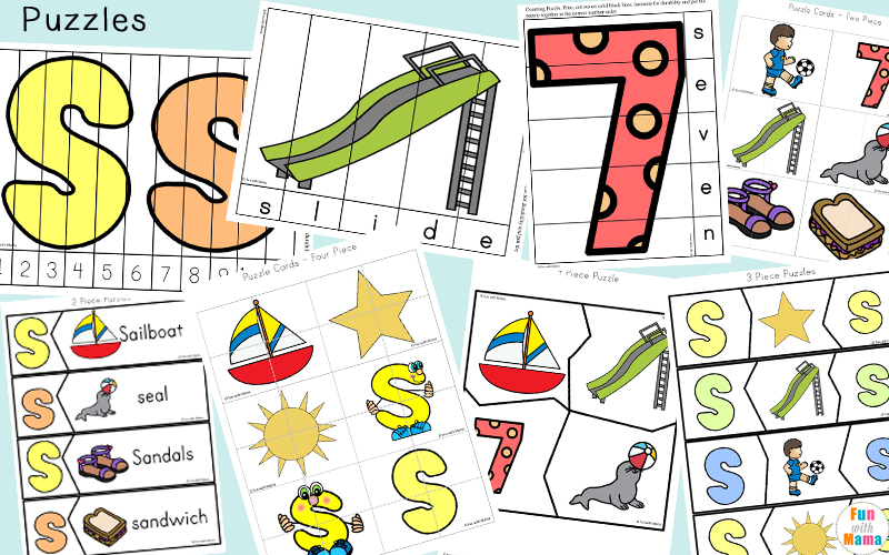 90+ Page Printable Pack For Letter S. Includes scissor skill practice, literacy concepts, simple math concepts, handwriting and prewriting skill practice. Free Printable for kindergarten or preschoolers.