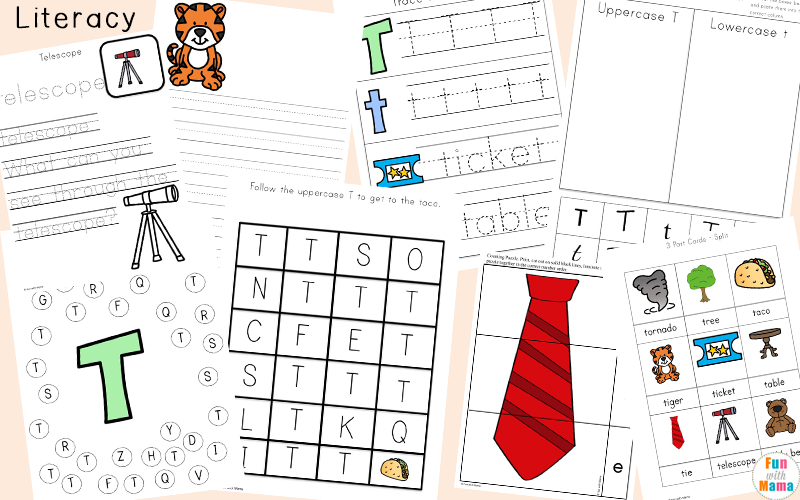 Letter t cut and paste worksheets