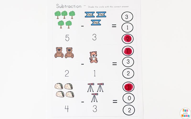 Simple subtraction for preschoolers or kindergarteners printable activities.