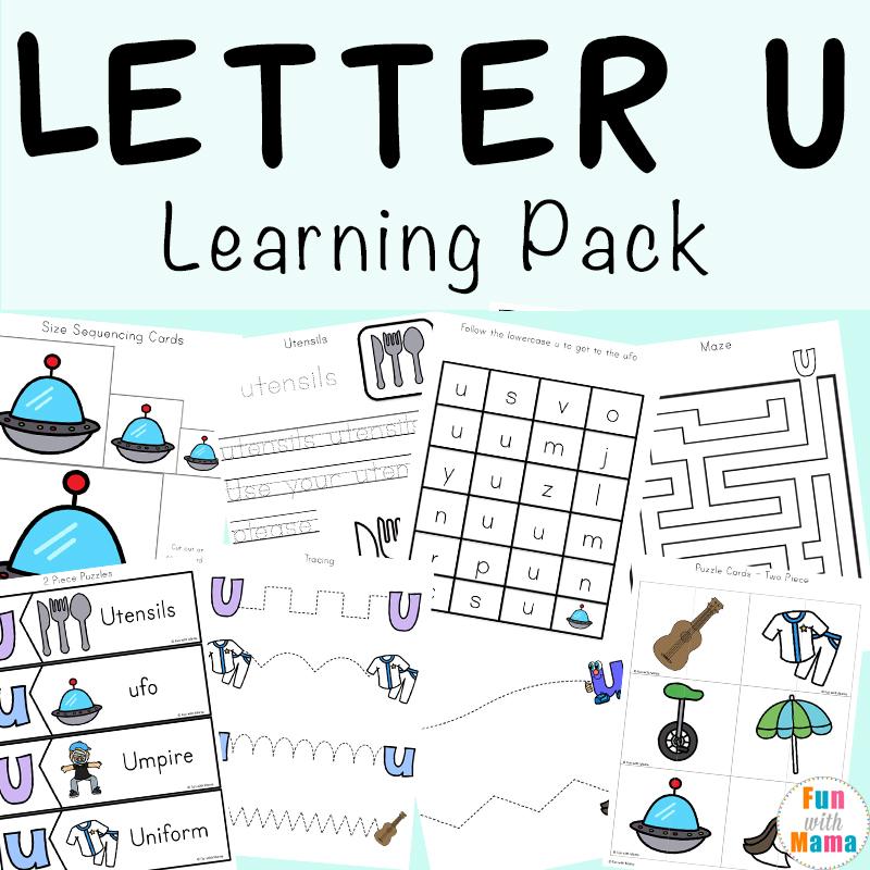 Letter U Worksheets for Preschool + Kindergarten Pack - Fun with Mama