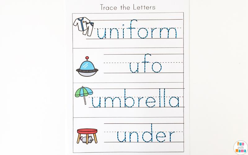 letter u worksheets for preschool kindergarten pack fun with mama. Black Bedroom Furniture Sets. Home Design Ideas