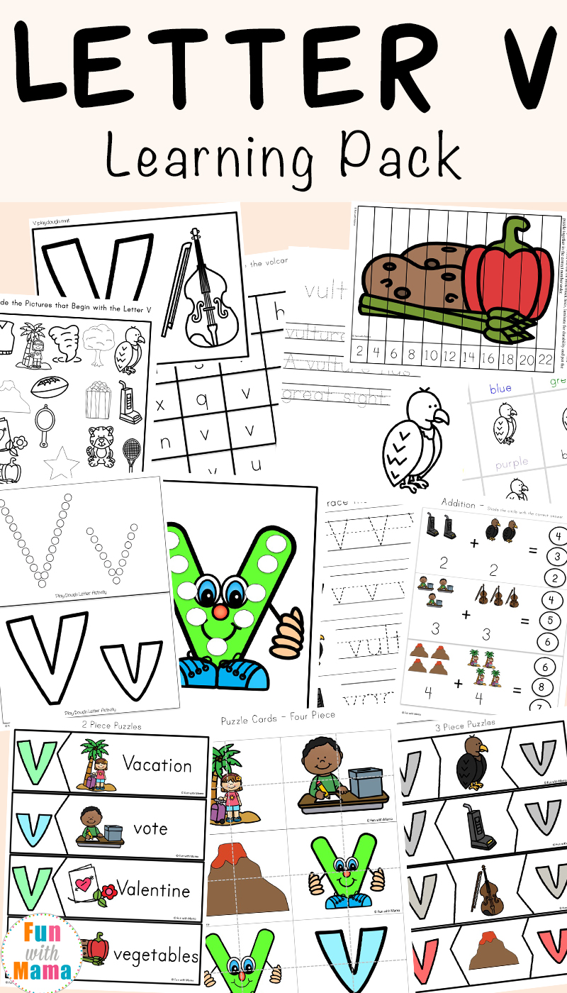 letter v worksheets for preschool   kindergarten